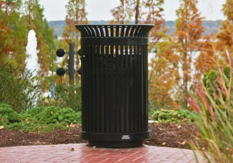 SD-42 Ironsites® Series Side-Door Litter Receptacles, FMS-324 Framers Modern™ Series Benches, National Harbor, Maryland, USA